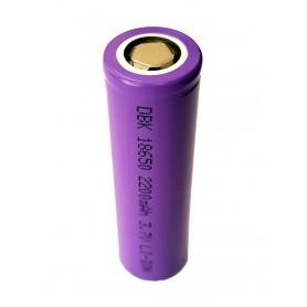 باتری لیتیوم یون 3.7v سایز 18650 سرتخت 2200mAh مارک DBK