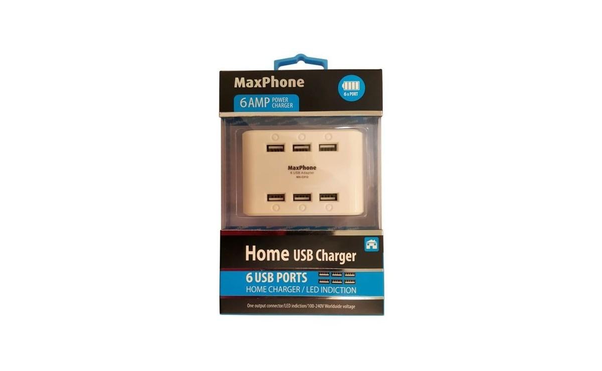 شارژر 5 ولت 6A با شش خروجی USB مارک Maxphone