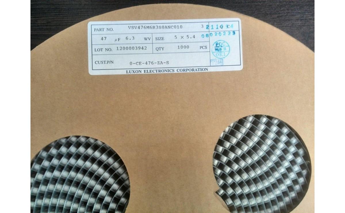 خازن SMD الکترولیت 47uF / 6.3V سایز 5x5.4 رول1000 تایی